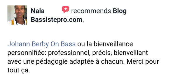témoignage élève coaching individuel BassistePro.com Nala
