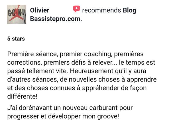 témoignage élève coaching individuel BassistePro.com Olivier Lamant
