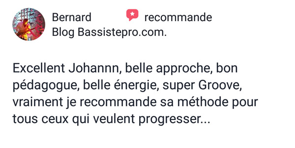 témoignage élève coaching individuel BassistePro.com Bernard Menu