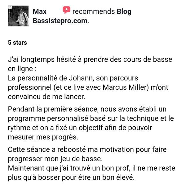 témoignage élève coaching individuel BassistePro.com Max Ime