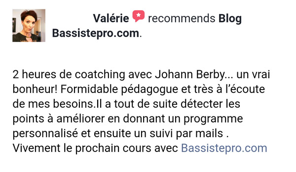témoignage élève coaching individuel BassistePro.com Valérie Jalquin