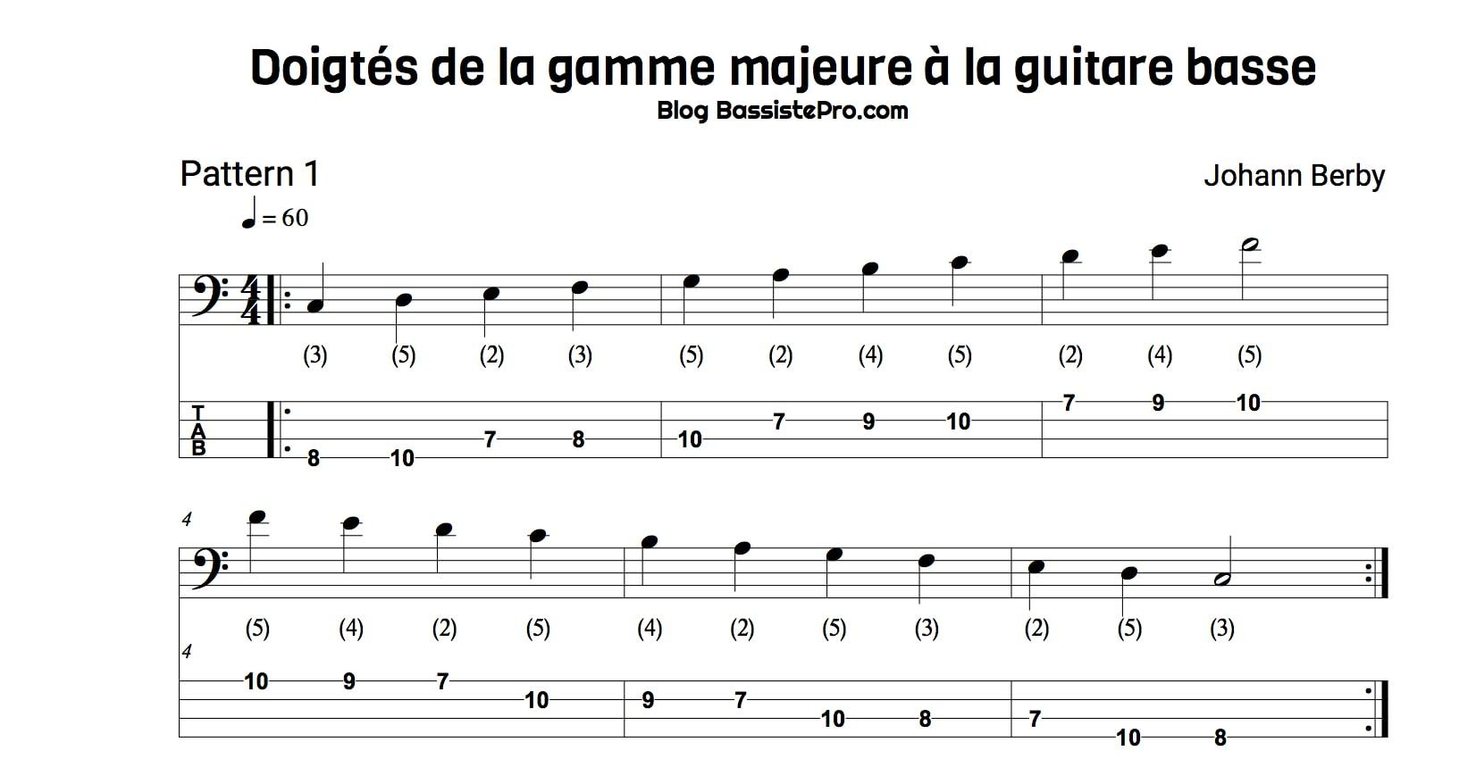 doigtes gamme majeure guitare basse pattern1 corde mi