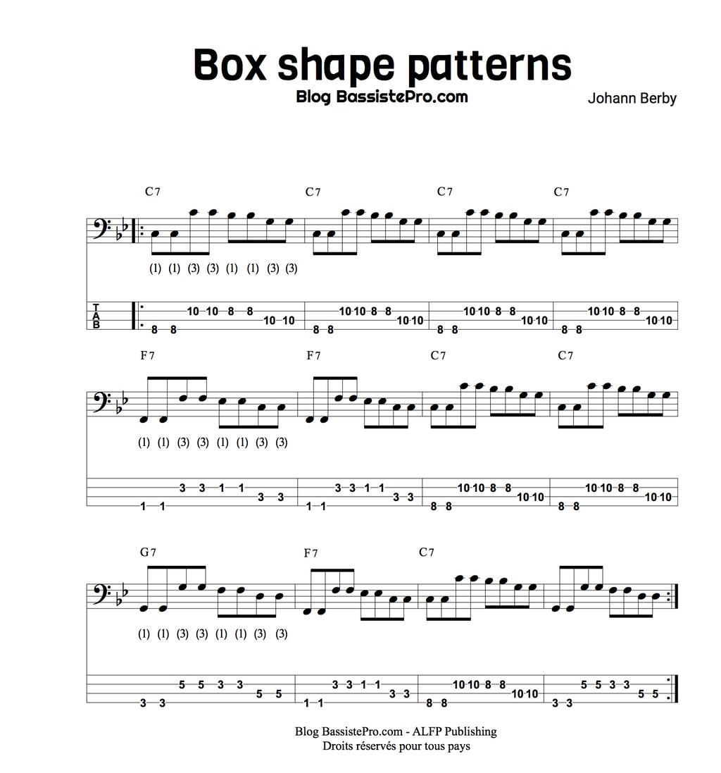 box shape patterns apprendre le blues a la basse 5 1 8 b7 5