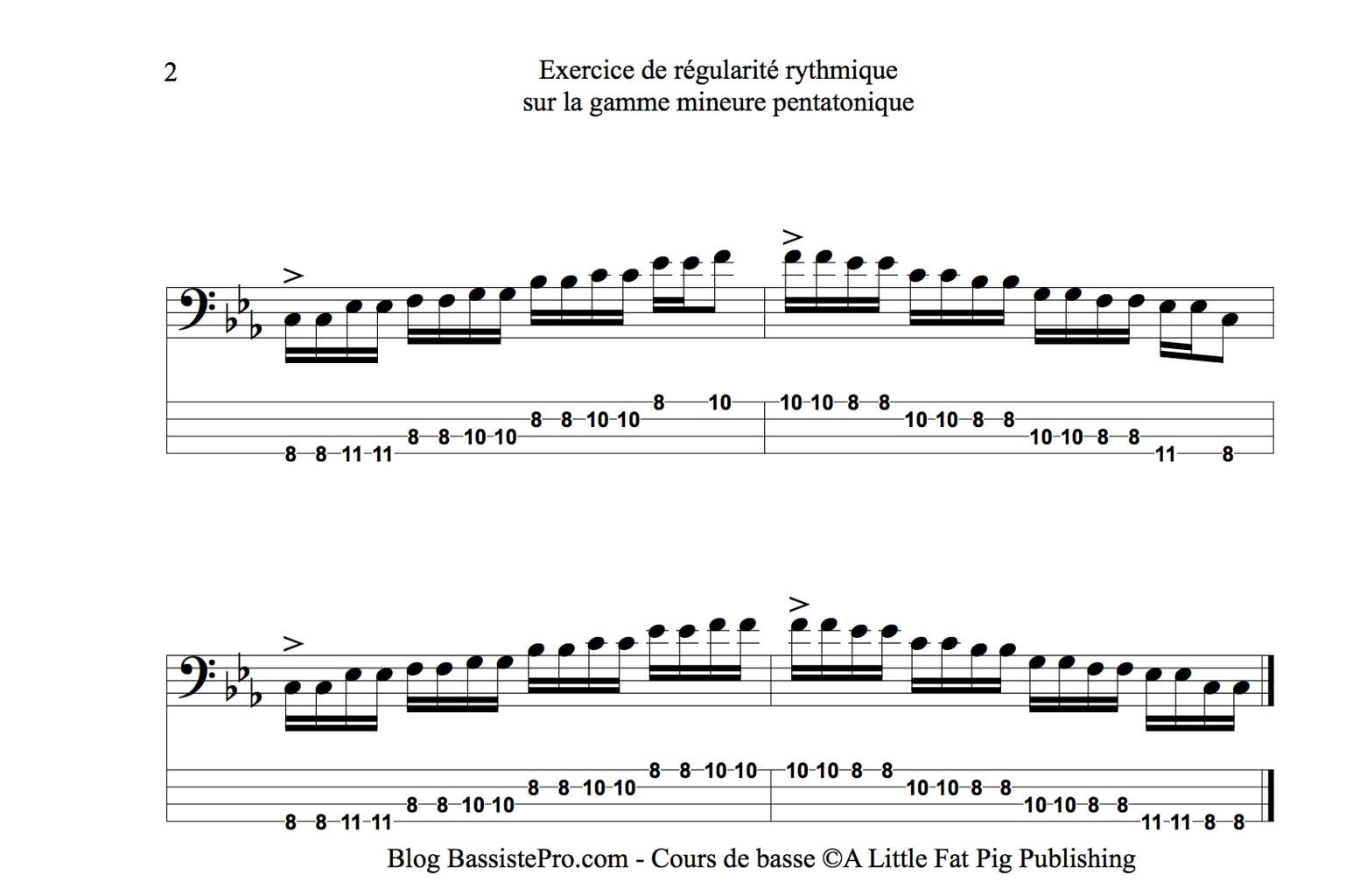 gamme mineure pentatonique a la guitare basse exercice regularite rythmique 2